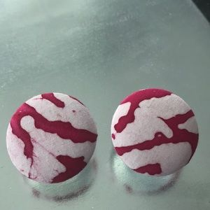 Jewelry - Pink and white Tie Dye fabric earrings